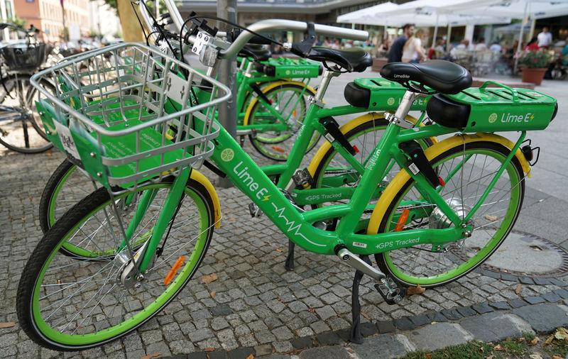 FILE PHOTO - Bike-sharing service Lime E bicycles are pictured in Berlin