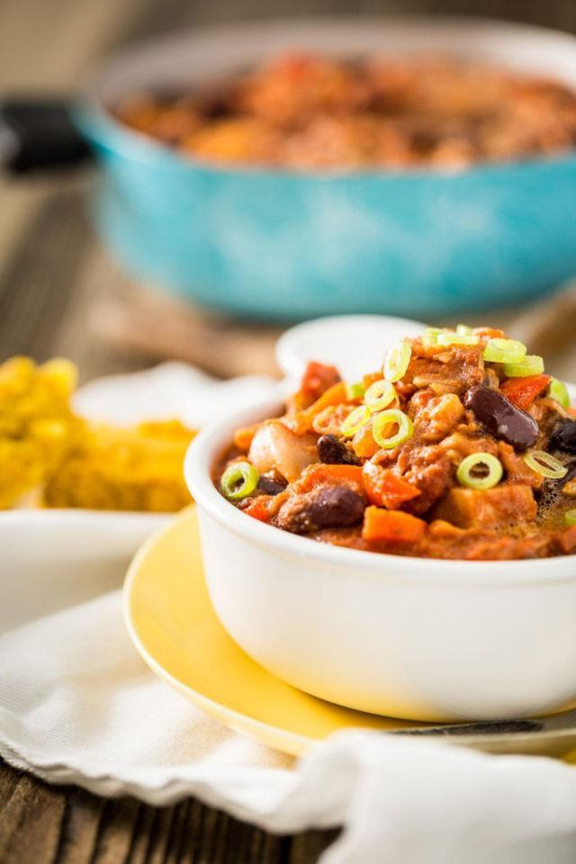 """<p>Beef is <em>not </em>what's for dinner when <a href=""""http://www.drozthegoodlife.com/healthy-food-nutrition/healthy-recipe-ideas/recipes/a415/3-bean-sweet-potato-chili-recipe-ghk0215/"""" rel=""""nofollow noopener"""" target=""""_blank"""" data-ylk=""""slk:you can make chili"""" class=""""link rapid-noclick-resp"""">you can make chili</a> loaded with jackfruit. The taste is the same, but you'll feel much lighter after the fruit-based version.</p><p>Grab the recipe from <a href=""""http://keepinitkind.com/pulled-jackfruit-chili/"""" rel=""""nofollow noopener"""" target=""""_blank"""" data-ylk=""""slk:Keepin' It Kind"""" class=""""link rapid-noclick-resp"""">Keepin' It Kind</a>.</p>"""