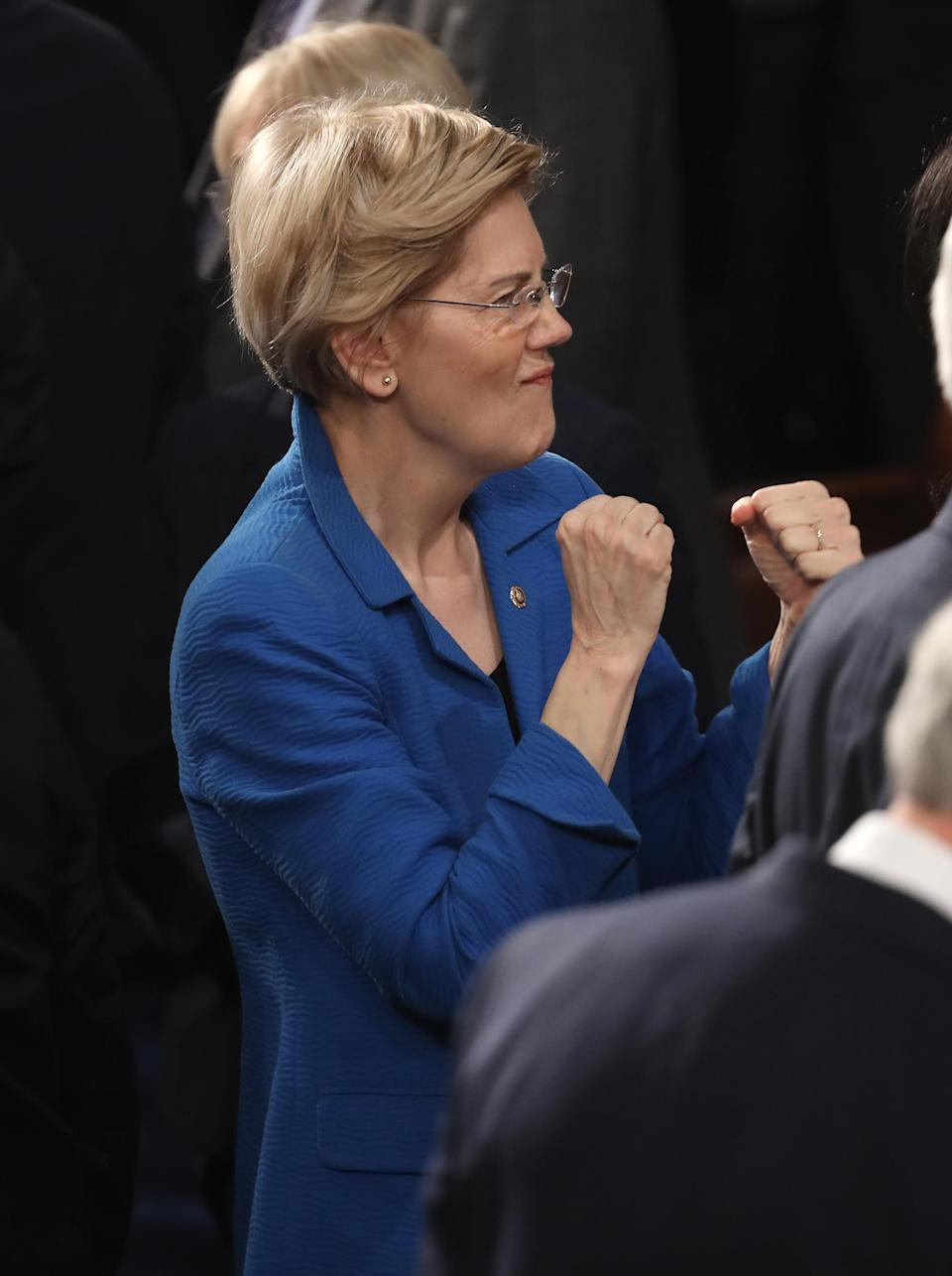 Sen. Elizabeth Warren wore teal to the State of the Union address. (Photo: Getty Images)