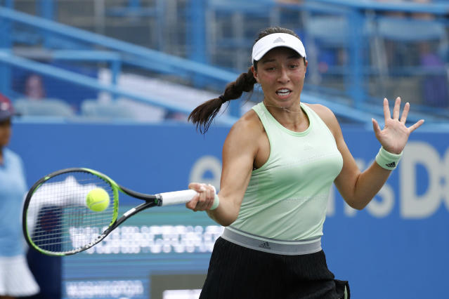 Jessica Pegula returns the ball during a semifinal match against Anna Kalinskaya, of Russia, at the Citi Open tennis tournament, Saturday, Aug. 3, 2019, in Washington. (AP Photo/Patrick Semansky)