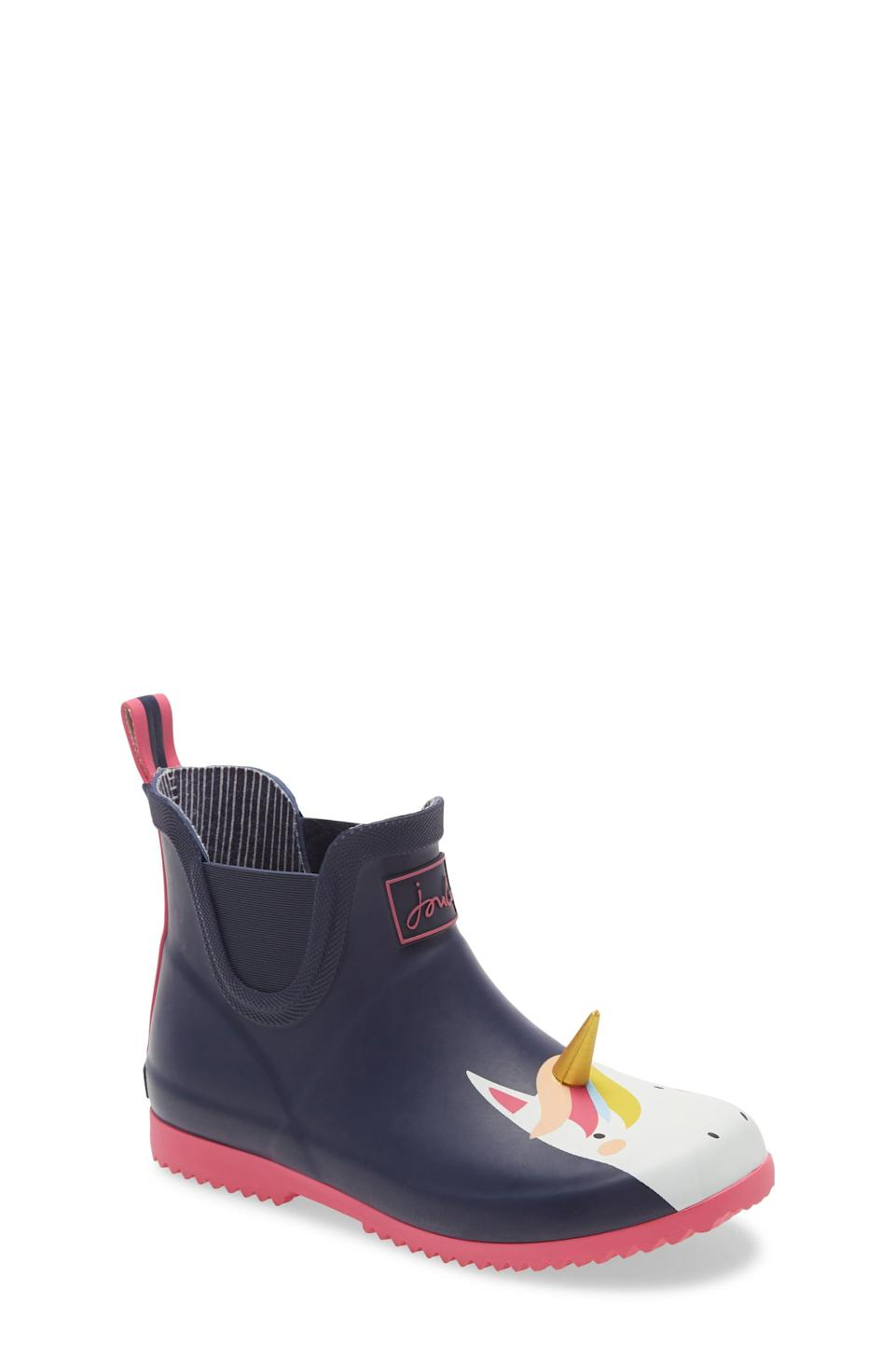"""<p><strong>JOULES</strong></p><p>nordstrom.com</p><p><strong>$39.95</strong></p><p><a href=""""https://go.redirectingat.com?id=74968X1596630&url=https%3A%2F%2Fwww.nordstrom.com%2Fs%2Fjoules-wellibob-waterproof-short-rain-boot-toddler-little-kid-big-kid%2F5748163&sref=https%3A%2F%2Fwww.countryliving.com%2Fshopping%2Fgifts%2Fg33960948%2Fbest-unicorn-gifts%2F"""" rel=""""nofollow noopener"""" target=""""_blank"""" data-ylk=""""slk:Shop Now"""" class=""""link rapid-noclick-resp"""">Shop Now</a></p><p>You can't be gloomy on a rainy day with these fun and functional wellies!</p>"""