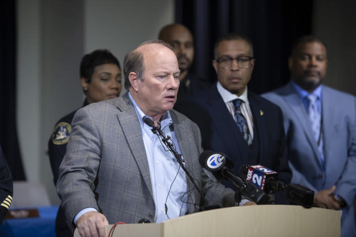 Detroit Mayor Mike Duggan speaks to the media at Detroit Public Safety Headquarters, Thursday, November 21, 2019, about two officers who were shot while responding to a home invasion Wednesday evening on Detroit's west side. Officer Rasheen McLain was killed during the incident and another officer was wounded. (David Guralnick/Detroit News via AP)
