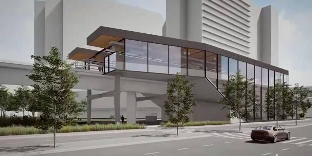 A digital rendering of the new Capstan Station on the Canada Line in Richmond, B.C. Construction began Thursday, according to TransLink.  (TransLink - image credit)