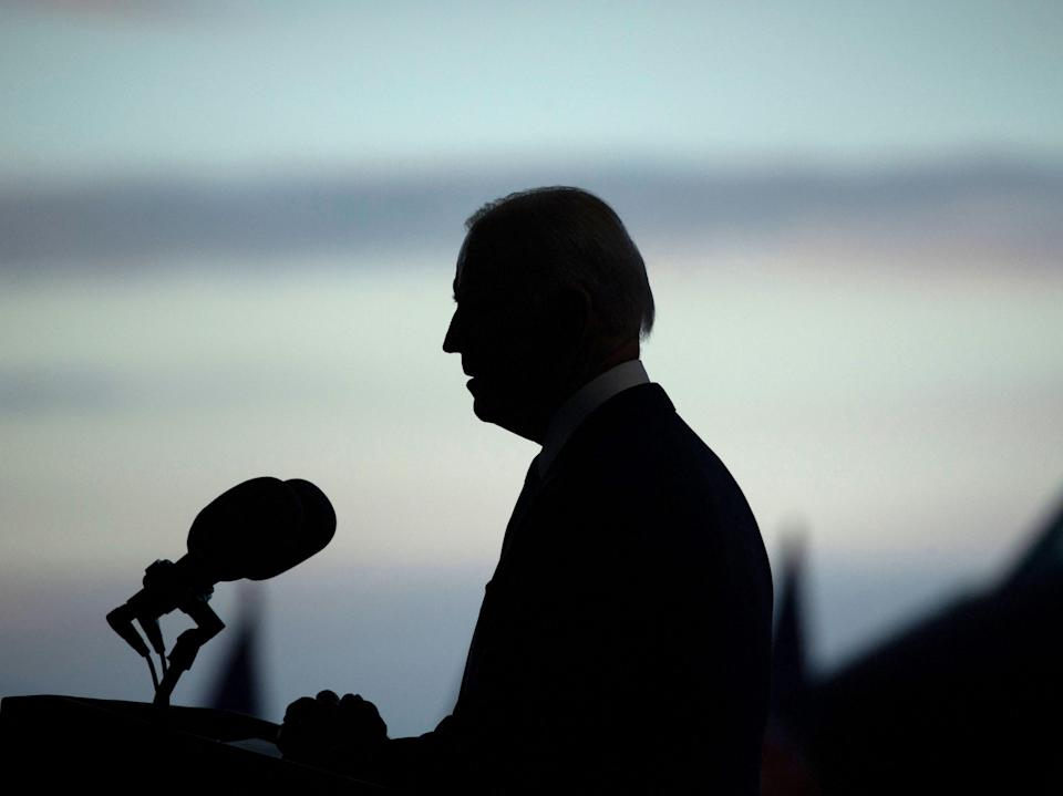 Joe Biden addresses US Air Force personnel and their families stationed at Royal Air Force Mildenhall, Suffolk (AFP via Getty Images)
