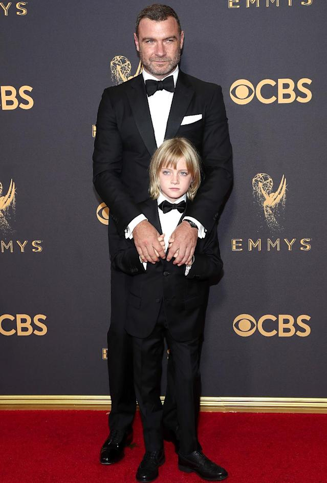 "<p>Even though the <i>Ray Donovan</i> star lost to Sterling K. Brown of <i>This Is Us</i> for Best Actor in a Drama, Liev Schreiber still had a night to remember with his 8-year-old, Kai, the younger of two sons he shares with Naomi Watts. Liev posted pics of Kai being prepped by a glam squad, riding to the show in a limo, and — most important — <a href=""https://www.instagram.com/p/BZKbPP5Avh_/?hl=en&taken-by=lievschreiber"" rel=""nofollow noopener"" target=""_blank"" data-ylk=""slk:getting hugged"" class=""link rapid-noclick-resp"">getting hugged</a> by <i>Stranger Things</i> star Millie Bobby Brown. ""Shut the front door!!! We can go home now,"" Liev joked. Kai will be so embarrassed one day soon. (Photo: Todd Williamson/Getty Images) </p>"