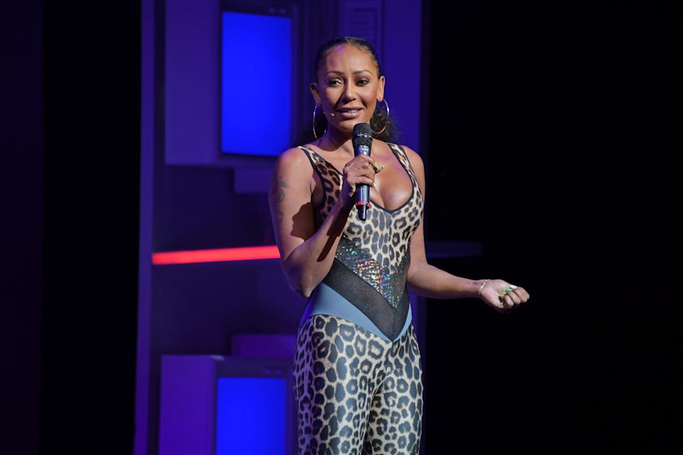 """LONDON, ENGLAND - SEPTEMBER 01:  Mel B speaks on stage during """"A Brutally Honest Evening With Mel B"""" in support of Women's Aid at The Savoy Theatre on September 1, 2019 in London, England.  (Photo by David M. Benett/Dave Benett/Getty Images)"""