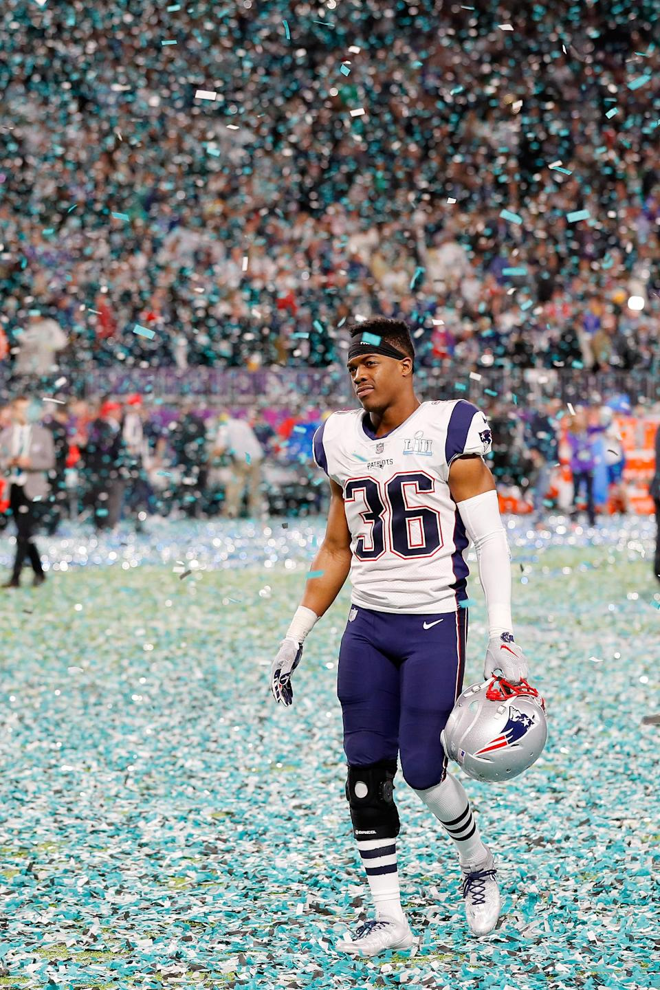 <p>Brandon King #36 of the New England Patriots walks offsides the field after his team lost 41-33 to the Philadelphia Eagles in Super Bowl LII at U.S. Bank Stadium on February 4, 2018 in Minneapolis, Minnesota. The Philadelphia Eagles defeated the New England Patriots 41-33. (Photo by Kevin C. Cox/Getty Images) </p>