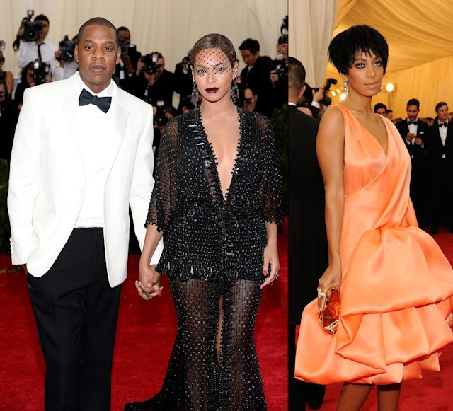 Jay-Z, Beyonce, and Solange at the 2014 Met Gala. (Photo: Getty Images)