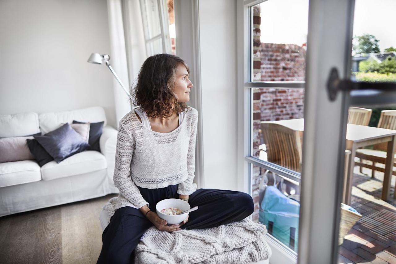 "<p>No matter how hectic your day is, take a moment to pause and breathe before you start eating. </p><p>""Create space between you and your food,"" <a href=""https://www.outshininged.com/"" target=""_blank"">Lindsay Ronga</a>, yoga instructor, TED and NEDA speaker, and eating disorder recovery and wellness coach, tells Woman's Day. ""This allows you to be mindful before you begin eating."" </p>"