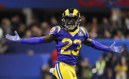 NFL Football - Super Bowl LIII - New England Patriots v Los Angeles Rams - Mercedes-Benz Stadium, Atlanta, Georgia, U.S. - February 3, 2019. Los Angeles Rams' Nickell Robey-Coleman celebrates a interception. REUTERS/Kevin Lamarque/File Photo