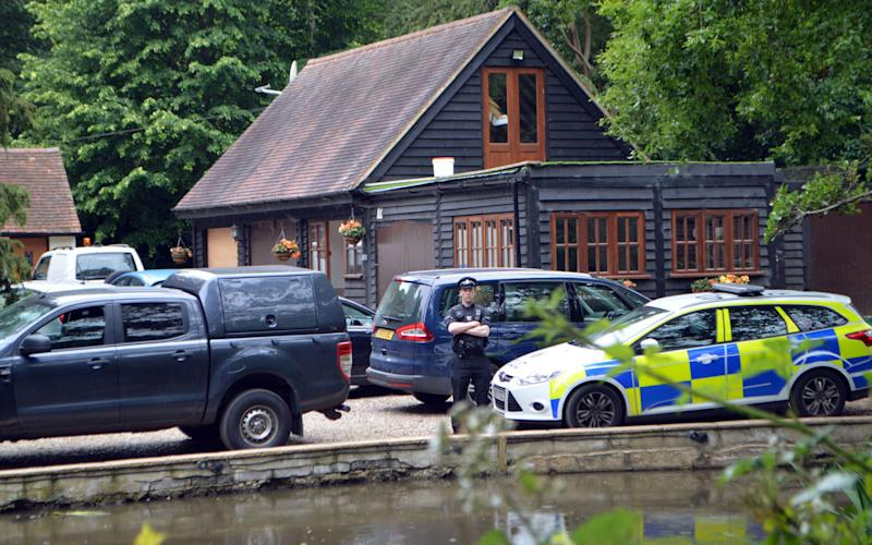 "Police at the home of notorious British criminal John ""Goldfinger"" Palmer, as police have launched a murder enquiry after he was found shot dead by his family at the address in South Weald, Brentwood, on June 24 - Credit: PA"