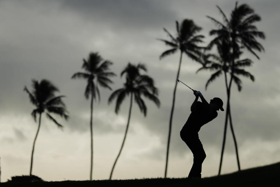 Adam Scott, of Australia, hits from the 11th tee box during the first round of the Sony Open golf tournament Thursday, Jan. 14, 2021, at Waialae Country Club in Honolulu. (AP Photo/Jamm Aquino)