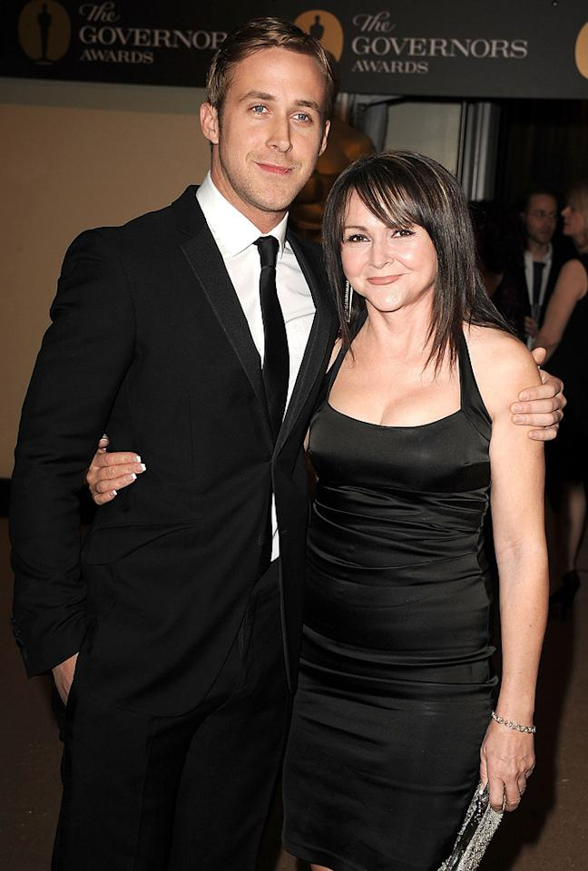 "<a href=""http://movies.yahoo.com/movie/contributor/1804035474"">Ryan Gosling</a> and mom attend the 2nd Annual AMPAS Governors Awards in Los Angeles on November 13, 2010."