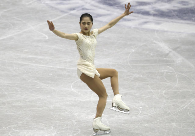 Japan's Satoko Miyahara performs during a Ladies short program of the NHK Trophy Figure Skating in Hiroshima, Western Japan, Friday, Nov. 9, 2018. (AP Photo/Koji Sasahara)