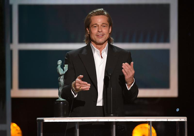 Brad Pitt accepts an award at the 26th annual Screen Actors Guild Awards over the weekend.  (Photo: Chris Pizzello/Invision/AP)