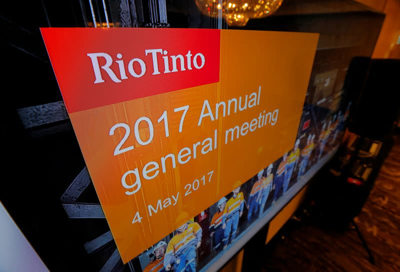 The Rio Tinto's company logo is featured on a TV monitor at the mining company' annual general meeting in Sydney