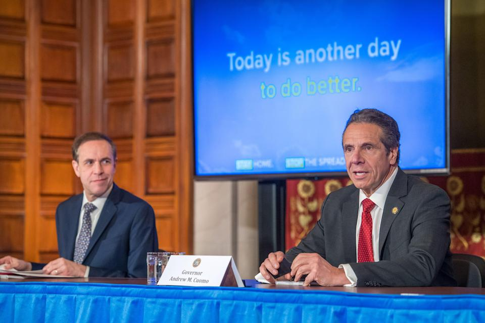 New York Gov. Andrew Cuomo delivers his daily press briefing on coronavirus alongside Health Commissioner Howard Zucker on April 30, 2020, at the state Capitol in Albany.