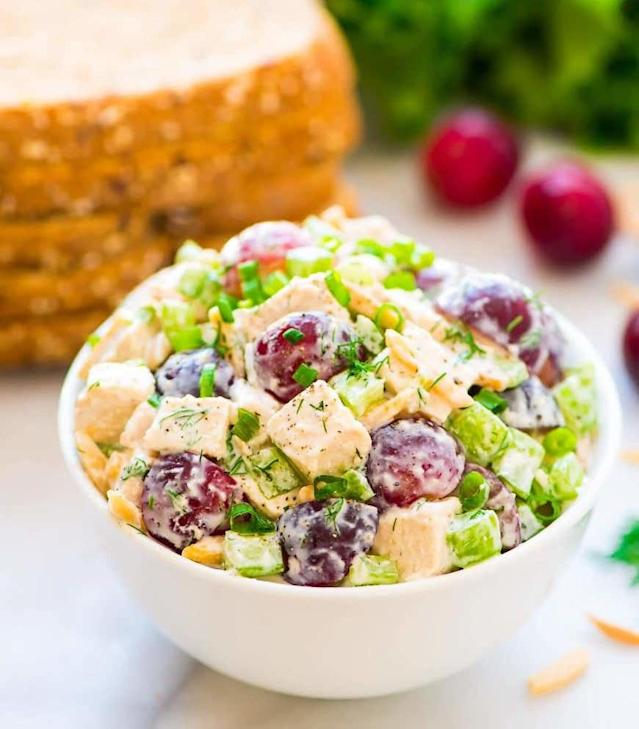 """<p>Skyr definitely has mayo beat on nutrition, and the similar textures make yogurt an easy, barely noticeable switch in chicken salad. Get the recipe <a href=""""http://www.wellplated.com/greek-yogurt-chicken-salad?mbid=synd_yahoofood"""" rel=""""nofollow noopener"""" target=""""_blank"""" data-ylk=""""slk:here"""" class=""""link rapid-noclick-resp"""">here</a>.</p>"""
