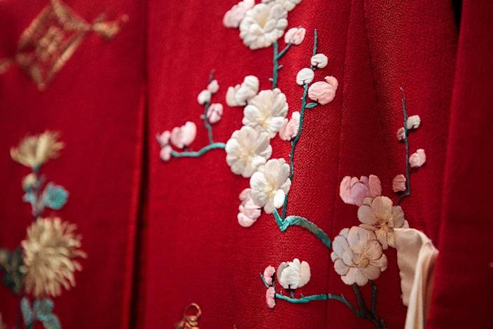 Detail of a kimono worn by Japanese princess Nobuko, eighth daughter of late Emperor Meiji, at the Kimono Museum near Tokyo (AFP Photo/Behrouz MEHRI)