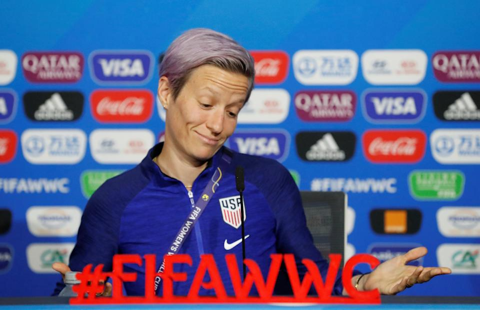 Soccer Football - Women's World Cup - United States Press Conference - Groupama Stadium, Lyon, France - July 6, 2019  Megan Rapinoe of the U.S. during the press conference   REUTERS/Bernadett Szabo