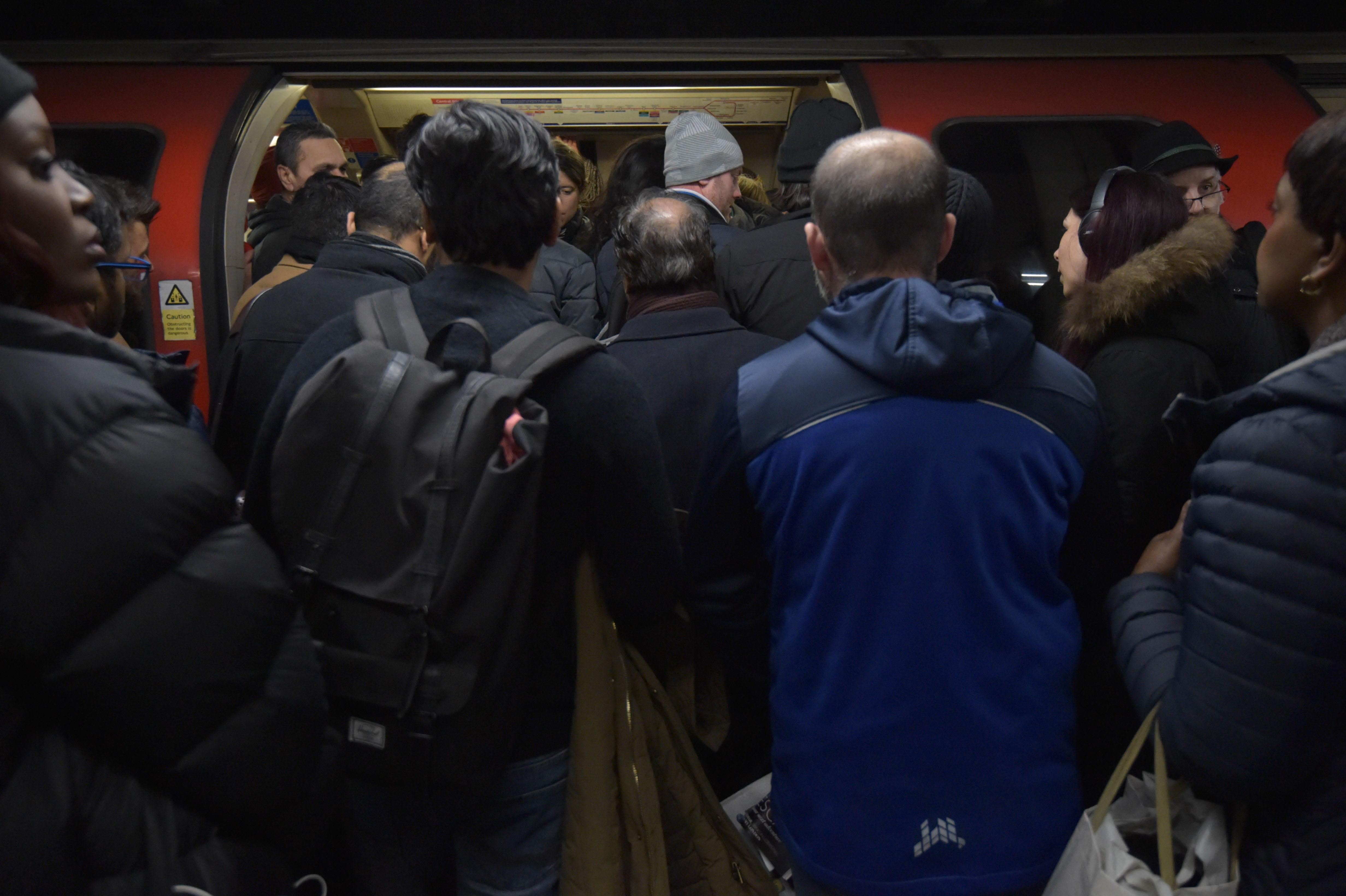 Overcrowding on the Central Line of the London Underground at Mile End station in east London. PA Photo. Picture date: Friday January 31, 2020. Photo credit should read: Nick Ansell/PA Wire