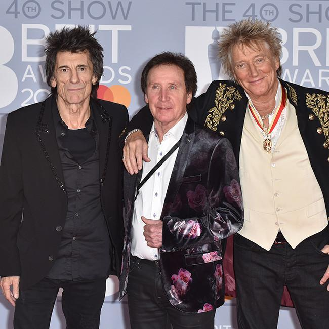 Kenney Jones with Ronnie Wood and Rod Stewart credit:Bang Showbiz