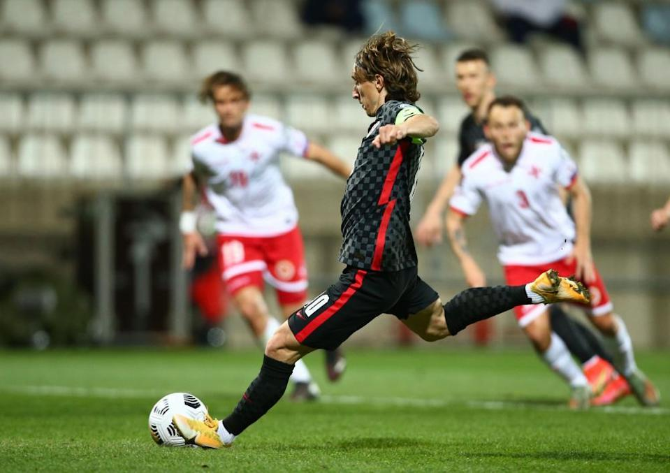 Croatia's Luka Modric scores their second goal from the penalty spot.