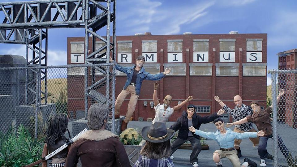 Residents at Terminus greet Rick and his crew with a warm welcome in 'The Robot Chicken Walking Dead Special: Look Who's Walking' (Photo: Courtesy of Adult Swim)
