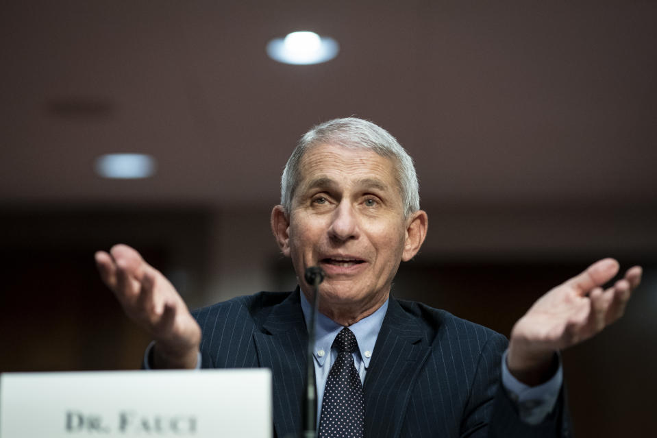 Dr. Anthony Fauci, director of the National Institute of Allergy and Infectious Diseases, speaks during a Senate Health, Education, Labor and Pensions Committee hearing on June 30, 2020 in Washington, DC. (Al Drago/Getty Images)