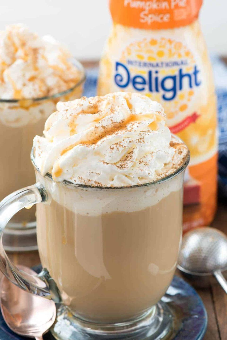 """<p>You've never had a PSL like this before! It's spiked with cinnamon whiskey and vanilla vodka to complement that lovely pumpkin flavor.</p><p><strong>Get the recipe at <a href=""""https://www.crazyforcrust.com/spiked-pumpkin-spice-latte/"""" rel=""""nofollow noopener"""" target=""""_blank"""" data-ylk=""""slk:Crazy for Crust"""" class=""""link rapid-noclick-resp"""">Crazy for Crust</a>.</strong></p><p><strong><a class=""""link rapid-noclick-resp"""" href=""""https://go.redirectingat.com?id=74968X1596630&url=https%3A%2F%2Fwww.walmart.com%2Fbrowse%2Fhome%2Fcoffee-mugs%2F4044_623679_639999_3148543_9383607%3Ffacet%3Dbrand%253AThe%2BPioneer%2BWoman&sref=https%3A%2F%2Fwww.thepioneerwoman.com%2Ffood-cooking%2Fmeals-menus%2Fg33510531%2Ffall-cocktail-recipes%2F"""" rel=""""nofollow noopener"""" target=""""_blank"""" data-ylk=""""slk:SHOP MUGS"""">SHOP MUGS</a><br></strong></p>"""