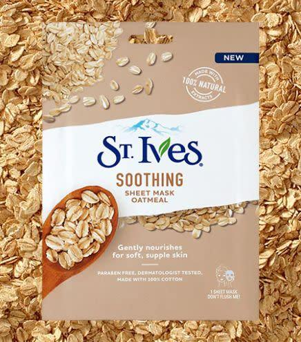 "If you're looking for a gentle mask that calms the skin without any tingling sensations, this St. Ives mask feels so nice on the skin. The soothing oatmeal calms the skin and works wonders on irritation.&nbsp;<br><br><strong><a href=""https://www.target.com/p/st-ives-nourish-and-soothe-oatmeal-sheet-mask-1ct/-/A-52560153"" rel=""nofollow noopener"" target=""_blank"" data-ylk=""slk:St. Ives Soothing Oatmeal Sheet Mask"" class=""link rapid-noclick-resp"">St. Ives Soothing Oatmeal Sheet Mask</a>, $2.32</strong>"