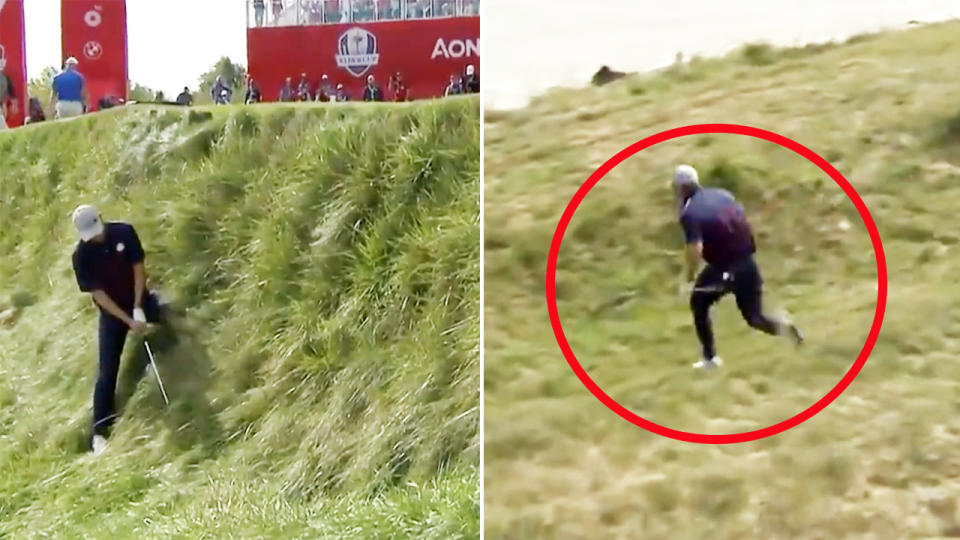 Jordan Spieth, pictured here almost ending up in Lake Michigan at the Ryder Cup.