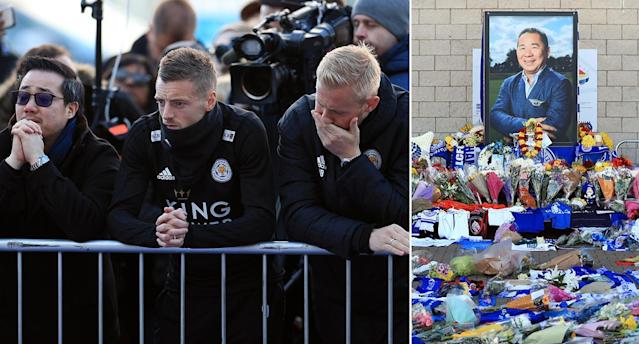 Leicester players turned out with the Srivaddhanaprabha family to pay tributes to the Foxes owner