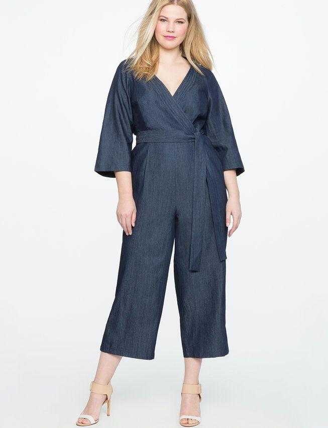 "Get it on <a href=""http://www.eloquii.com/denim-faux-wrap-jumpsuit/1324494.html?cgid=jumpsuits&dwvar_1324494_colorCode=17&start=9"" target=""_blank"">Eloquii for $125</a>."
