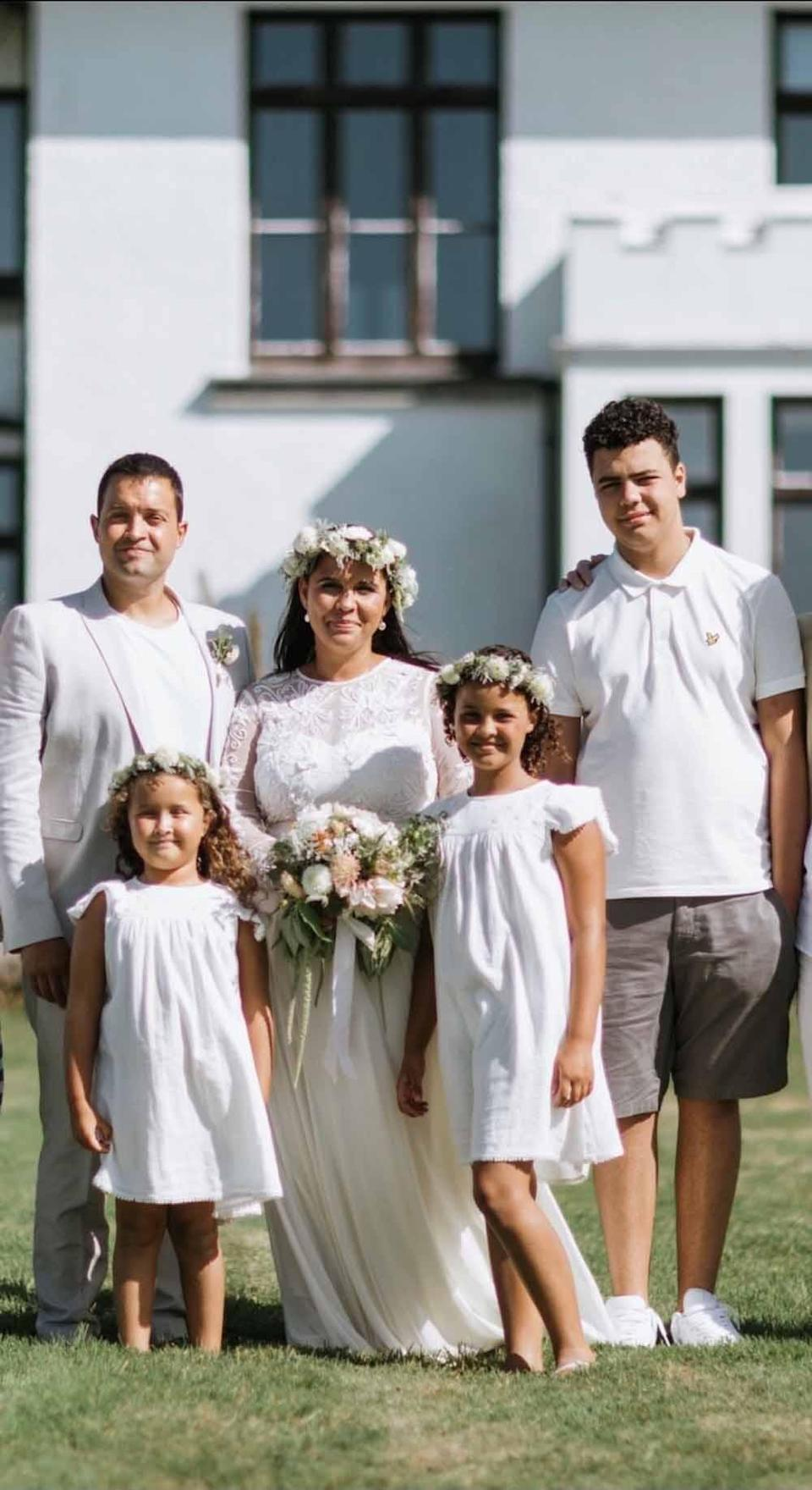 Christian, Saphire, Sarah, Scarlet and Louis, at the couple's wedding in September 2019. PA REAL LIFE/ANDY REEVES PHOTOGRAPHY