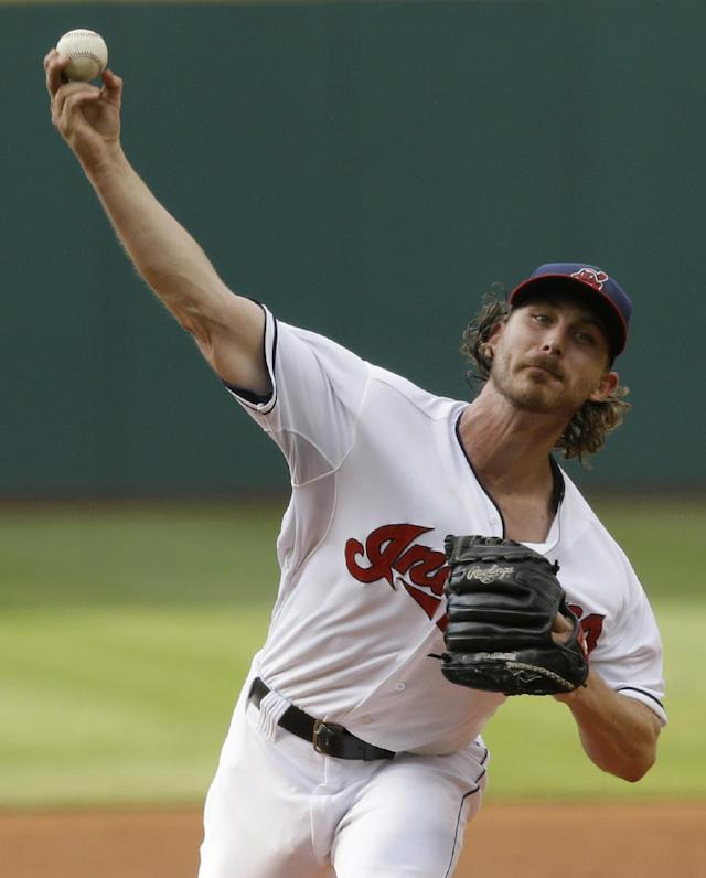 Cleveland Indians starting pitcher Josh Tomlin delivers in the first inning of a baseball game against the New York Yankees, Wednesday, July 9, 2014, in Cleveland. (AP Photo/Tony Dejak)