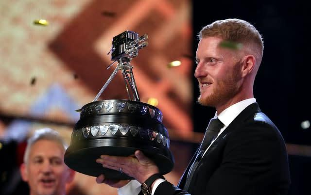 Ben Stokes poses with the BBC Sports Personality of the Year award (Jane Barlow/PA)