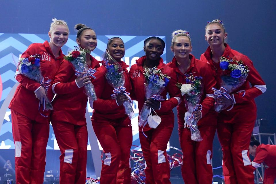 The women's Olympic team poses for a photo during the U.S. Gymnastic Olympic Team Trials at The Dome at America's Center on June 27, 2021, in St. Louis, Missouri.
