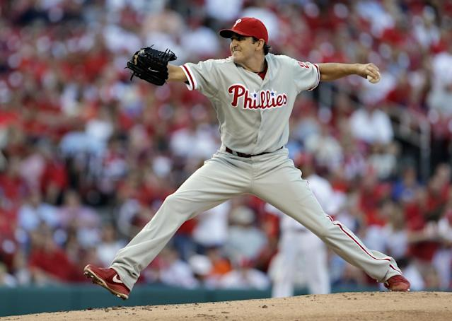 Philadelphia Phillies starting pitcher John Lannan throws during the first inning of a baseball game against the St. Louis Cardinals on Wednesday, July 24, 2013, in St. Louis. (AP Photo/Jeff Roberson)