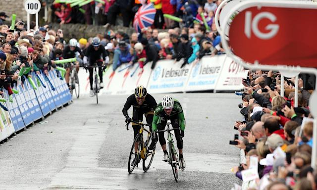 MTM Qhebeka's Gerard Ciolek (left) wins the second stage of the 2013 Tour of Britain in Kendal.