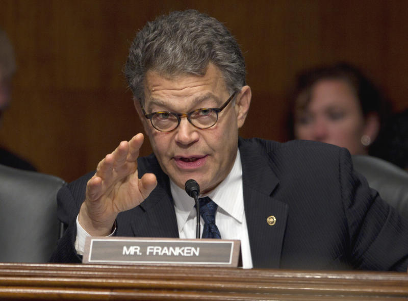 """FILE -In this Oct. 4, 2011 file photo, Sen. Al Franken, D-Minn. speaks on Capitol Hill in Washington during a hearing on """"Americas Agricultural Labor Crisis: Enacting a Practical Solution."""" Republicans figured he would be an easy target the second time around. But Franken has transformed his race into one that many national Republicans are writing off, choosing to focus their money instead on more vulnerable Democrats. He's done it in part by transforming his image from the wisecracking former Saturday Night Live star into quiet policy work. (AP Photo/Carolyn Kaster, File)"""