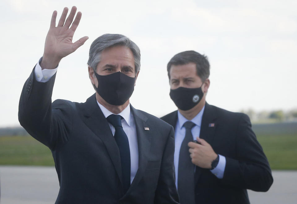 U.S. Secretary of State Antony Blinken waves upon departure from Boryspil International airport outside Kyiv, Ukraine, Thursday, May 6, 2021. U.S. Secretary of State Antony Blinken has met with top Ukrainian officials in Kyiv and reaffirmed Washington's support for the country in the wake of heightened tensions with Russia. (AP Photo/Efrem Lukatsky, Pool)