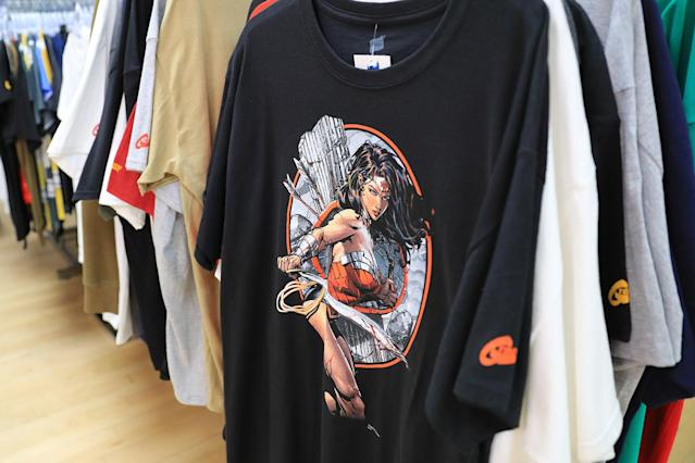 <p>Wonder Woman T-shirts at the Midtown Comics in New York City. (Gordon Donovan/Yahoo News) </p>
