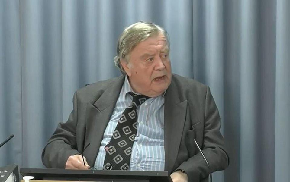 Lord Ken Clarke, who held the position of health minister from 1982 to 1985, giving evidence at the Infected Blood Inquiry (Infected Blood Inquiry/PA) (PA Media)