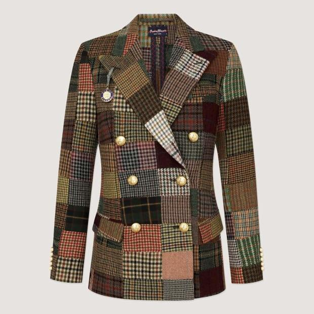 """<p>Rowing Blazers Patchwork Tweed Diana Blazer, $895, <a href=""""https://rowingblazers.com/collections/womens-blazers/products/patchwork-double-breasted-blazer"""" rel=""""nofollow noopener"""" target=""""_blank"""" data-ylk=""""slk:available here"""" class=""""link rapid-noclick-resp"""">available here</a>.</p>"""