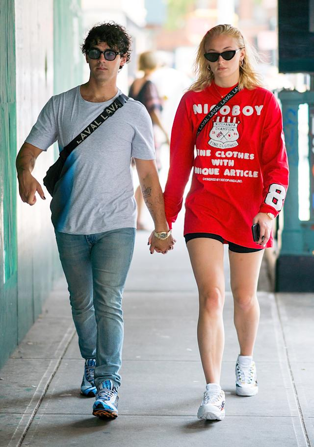 Sophie Turner looked upset during an outing with fiancé Joe Jonas. (Photo: Gotham/GC Images)