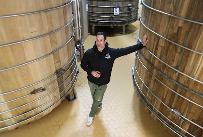 Sam Calagione at the Dogfish Head brewery in Milton in March.