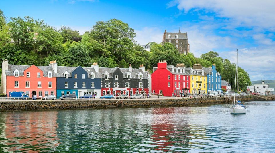 """<p>Probably Scotland's most famous port thanks to the CBeebies show Balamory, you'll instantly recognise the bright colours of the charming houses lining the town's main street by the harbour. </p><p>Legend has it a ship from the Spanish Armada sank here in the 1500s while fleeing the English fleet, and that it was full solid gold bullion - but none has ever been found! Nowadays the picturesque port and the island's romantic feel have made it a trendy spot for weddings.</p><p><strong>Stop off at Tobermory on a <a href=""""https://www.goodhousekeepingholidays.com/tours/scotland-edinburgh-glasgow-golden-horizon-tradewind-cruise"""" rel=""""nofollow noopener"""" target=""""_blank"""" data-ylk=""""slk:Scottish Islands cruise"""" class=""""link rapid-noclick-resp"""">Scottish Islands cruise</a> with Good Housekeeping.</strong></p>"""