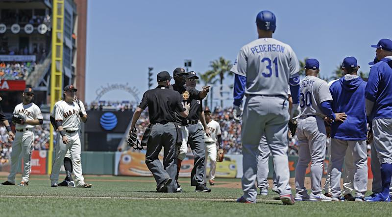 Benches cleared between the Giants and Dodgers on Wednesday. (AP)