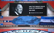 <p>A minute's silence was also held ahead of the FA Cup semi final between Manchester City and Chelsea at Wembley Stadium, London. (PA Images via Getty Images)</p>